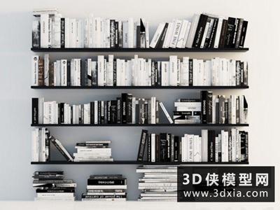 现代书组合国外3D模型【ID:929687057】