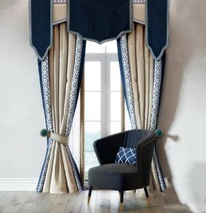 新古典奢华窗帘单椅组合3D模型【ID:241804607】