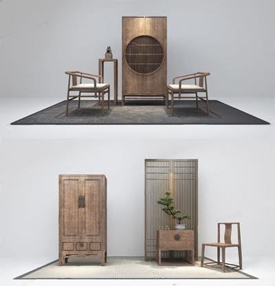 新中式柜子椅子组合3D模型【ID:928185973】