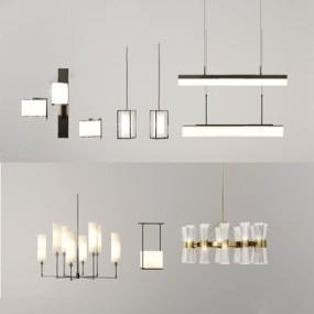 新中式灯具组合3D模型【ID:528008835】
