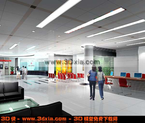 非常普通的公司大厅3D模型【ID:3358】