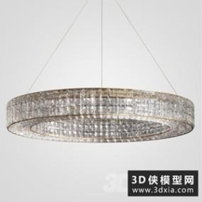 现代水晶吊灯国外3D模型【ID:829459709】