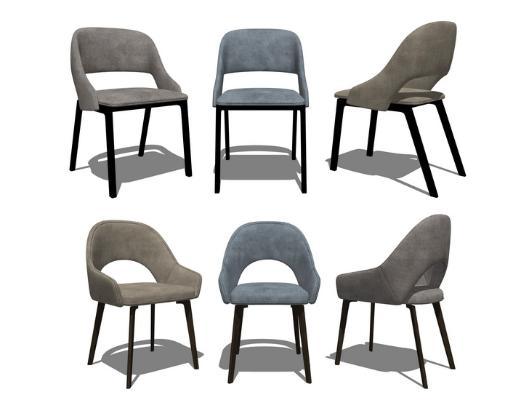 現代餐椅組合SU模型【ID:946379421】