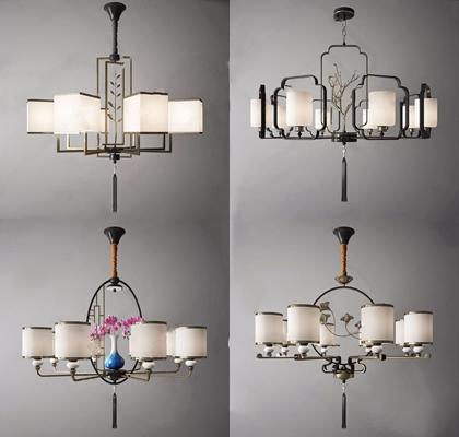 新中式吊燈組合3D模型【ID:528289852】
