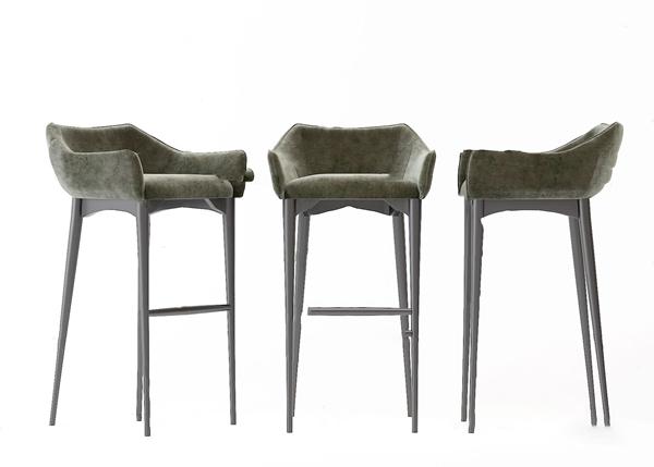 北歐絨布吧椅3D模型【ID:746658231】