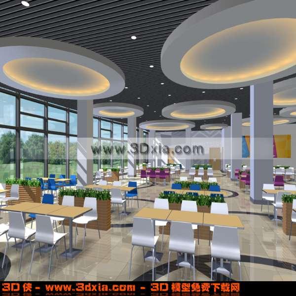 漂亮宽敞的食堂3D模型