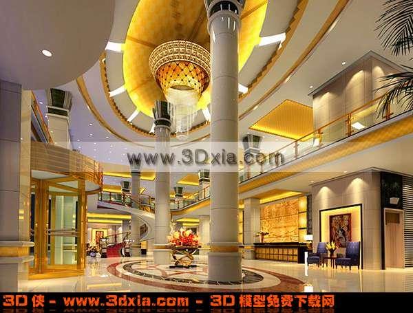 十分高贵的酒店大堂3D模型【ID:3398】