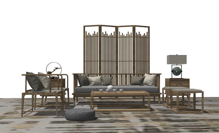 中式客厅沙发茶几屏风隔断组合SU模型【ID:736362675】