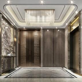 现代电梯厅3D模型【ID:224886824】