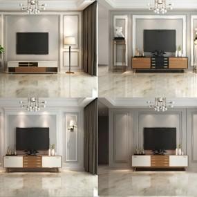 现代电视墙3D模型【ID:726222501】