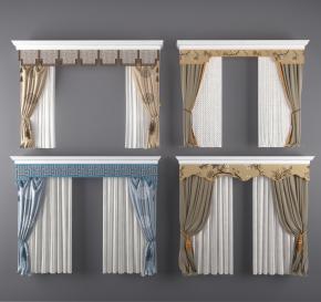 新中式布藝窗簾組合3D模型【ID:327785830】