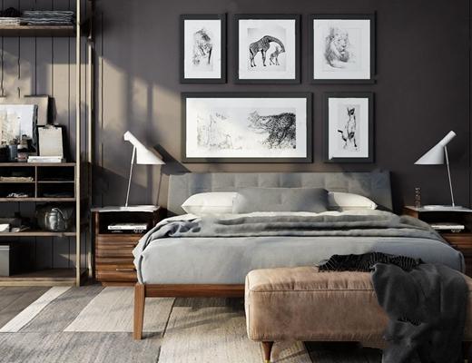 现代床具床头柜组合3d模型【ID:728314091】