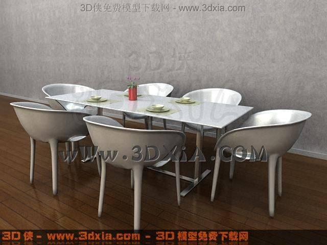 桌椅组合3D模型-版本-3dmax2009-6【ID:34071】