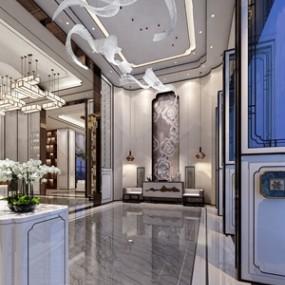 新中式售楼处前台大厅3D模型【ID:941631644】