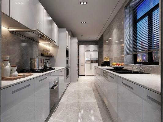 深圳样板间现代厨房3D模型【ID:528019001】
