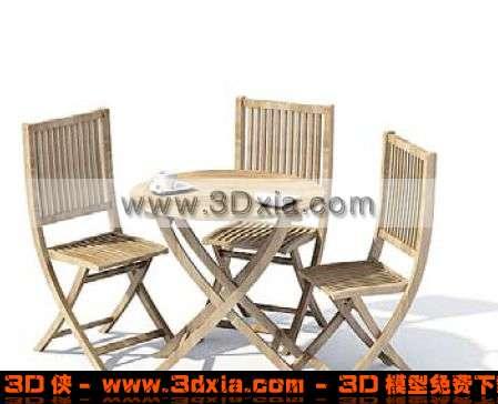 经典户外桌椅组合下载3D模型【ID:344】