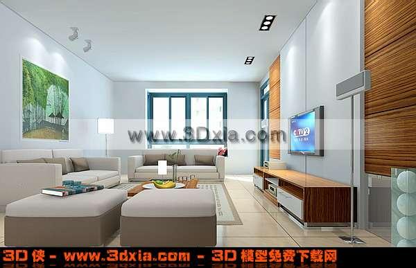 精美简单的客厅3D模型【ID:3451】