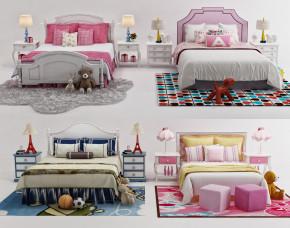 美式儿童床床头柜玩具组合3D模型【ID:727809123】