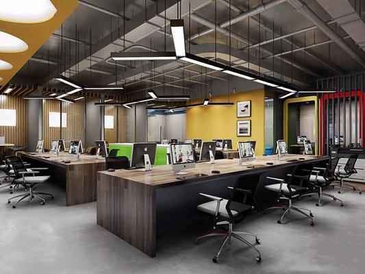 工业风办公室3D模型【ID:728088678】