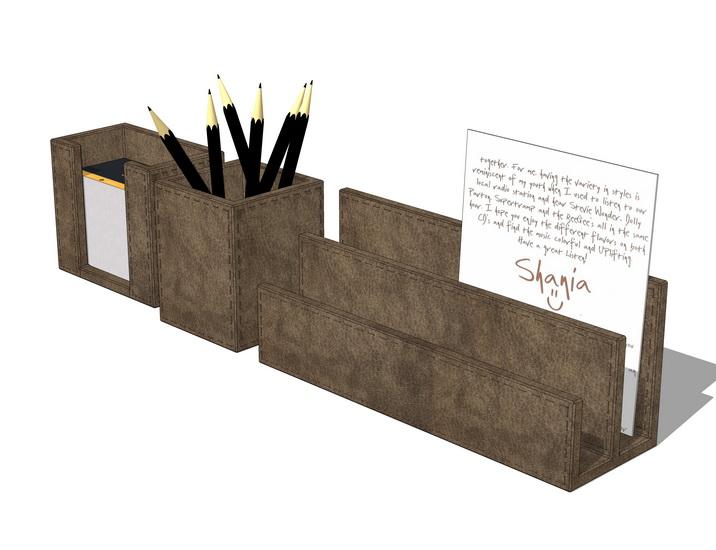 鉛筆文具夾書簽組合擺設SU模型【ID:736363130】