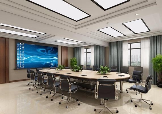 现代大型会议室3D模型【ID:728101880】