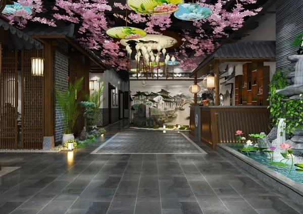 新中式主题餐厅3D模型【ID:647289292】