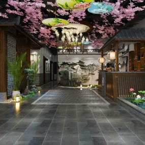 新中式主題餐廳3d模型【ID:647289292】