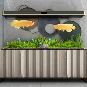 現代景觀魚缸水族箱3d模型【ID:247686527】