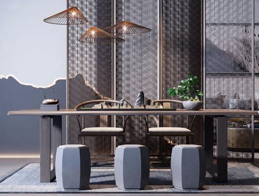 新中式茶桌椅屏风摆件组合3D模型【ID:328253674】
