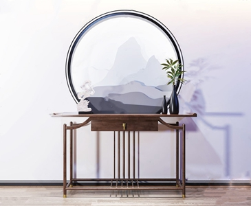 新中式玄关柜摆台3D模型【ID:920828802】