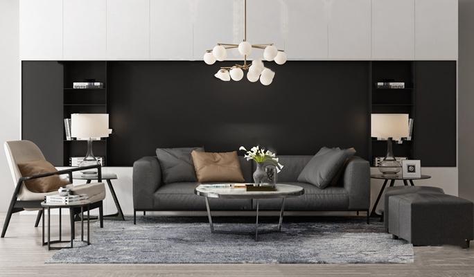 现代沙发茶几组合3D模型【ID:624894081】