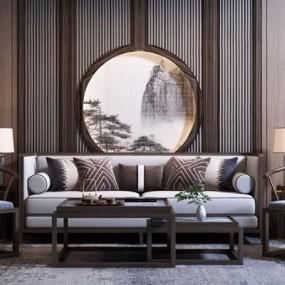 新中式沙发组合3D模型【ID:128220078】