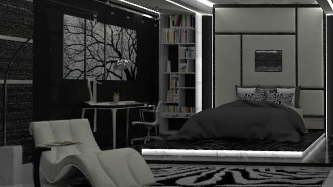 黑白卧室SU模型【ID:537658036】