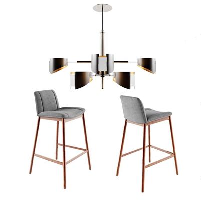 北歐吧椅吊燈組合3D模型【ID:328250161】