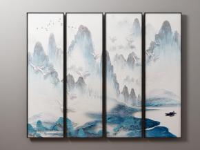 新中式山水挂画装饰画3D模型【ID:127753091】