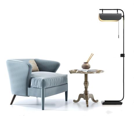 北欧单人休闲沙发3D模型【ID:928212638】