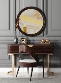 现代梳妆台摆件镜子单椅组合3D模型【ID:227779688】