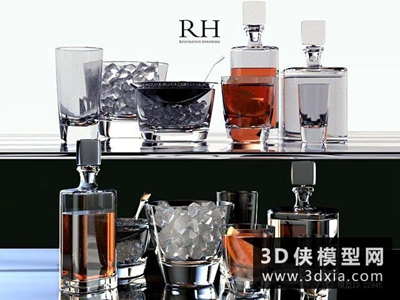 紅酒杯子組合國外3D模型【ID:929402920】