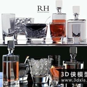 红酒杯子组合国外3D模型【ID:929402920】