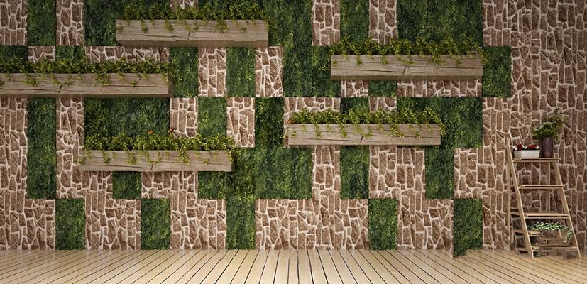 现代绿植墙3D模型【ID:226224842】
