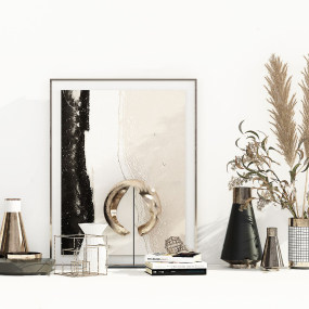 現代花瓶書籍飾品擺件3d模型【ID:243349558】