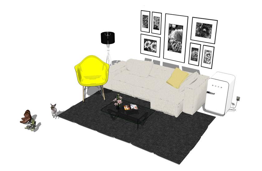 現代風格客廳沙發茶幾組合SU模型【ID:436363188】