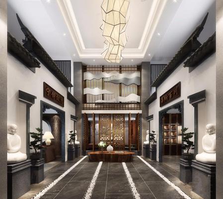 新中式展厅3D模型【ID:528012448】
