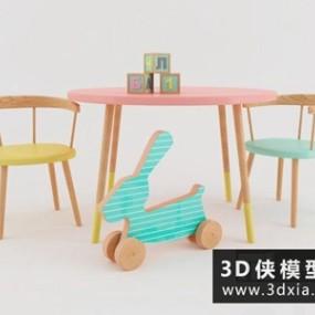 儿童桌椅国外3D模型【ID:729715783】
