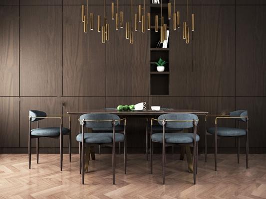 餐桌椅组合3D模型【ID:120021805】