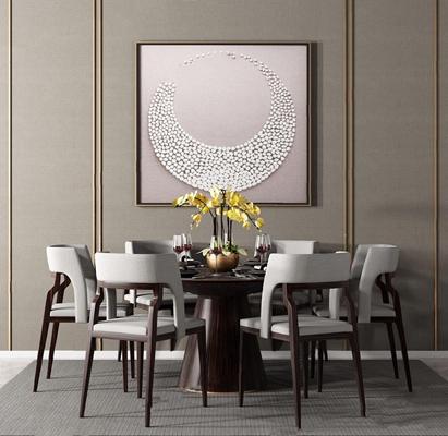 新中式餐桌椅组合3D模型【ID:328241605】