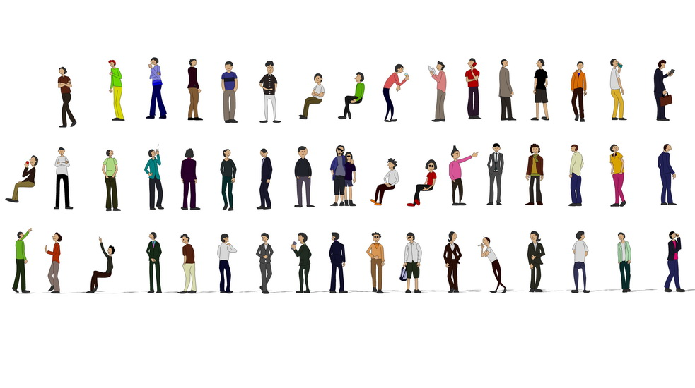 2D写意人物男人组合SU模型【ID:136364612】