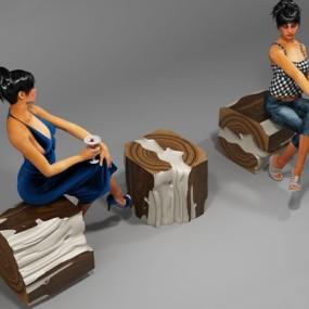 实木凳子3D模型【ID:427974395】