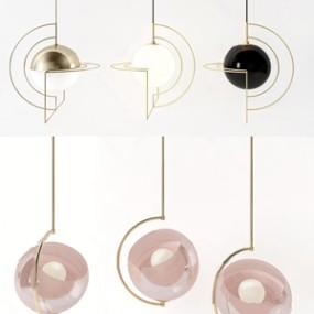 现代时尚简约金属吊灯组合3D模型【ID:736240856】