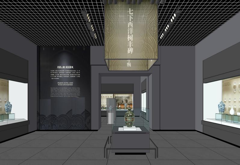 中式博物馆室内设计SU模型【ID:636364021】